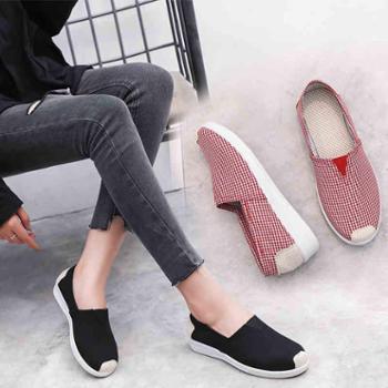 老北京布鞋帆布鞋春秋季一脚蹬懒人鞋平底休闲潮流民族风女鞋单鞋