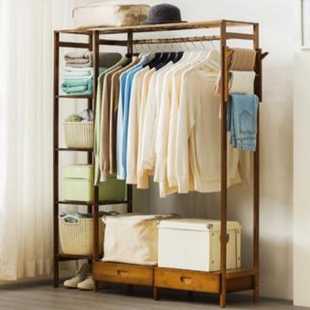 木马人简易衣帽架实木卧室挂衣架子落地衣服收纳置物家用简约现代