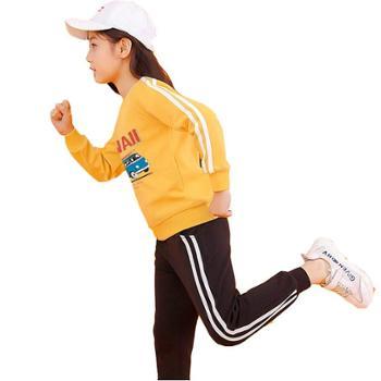 雅鹿女童运动套装秋季儿童卫衣套装中大童洋气加绒童装厚