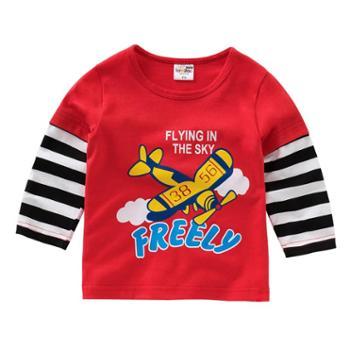 童装男纯棉长袖t恤秋冬秋装儿童婴幼上衣宝宝印花T恤