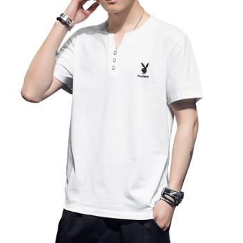 花花公子男士短袖t恤纯棉半袖上衣服SY8368