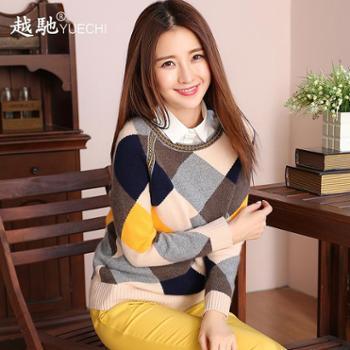 越驰 秋冬菱形格羊绒衫女圆领套头修身毛衣打底针织衫加厚