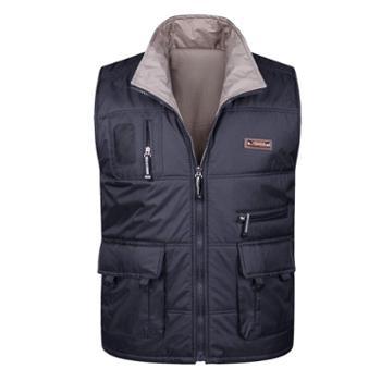 Aeroline冬季男式中老年爸爸装时尚户外休闲多口袋两面穿棉马甲