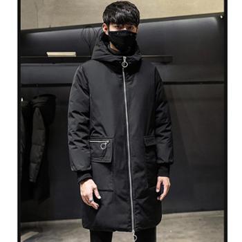 Aeroline冬季新款加厚男士羽绒服中长款连帽白鸭绒保暖韩版舒适外套