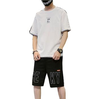 柏誉/Aeroline 男式套装 夏季圆领短袖宽松百搭短裤男式套装