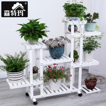 森特玛实木花架绿萝多层落地花架盆景木质花架子阳台客厅室内包邮