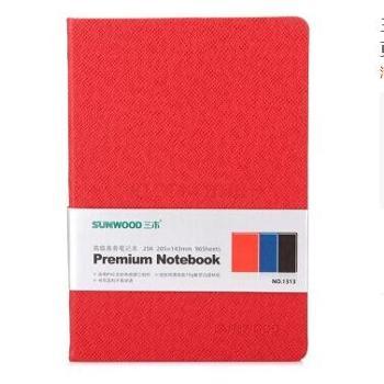 三木(SUNWOOD) 1313PVC无纺布底笔记本/高档会议本/记事本-96页/25K-红色