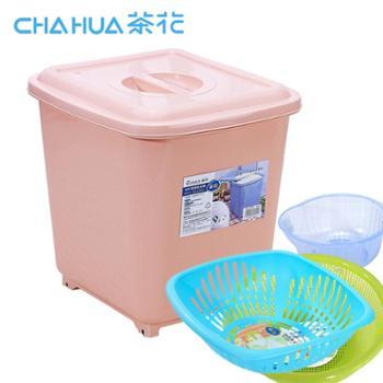 茶花牌40斤米桶储米箱 密封有盖带滑轮子 厨房套装 淘米筛篮组合