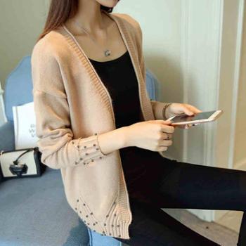 2017秋季新款女装韩版宽松短款女外套长袖钉珠针织开衫外搭毛衣潮