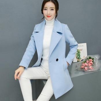 漫娜儿 2017秋冬韩版女装显瘦毛呢外套女修身大码中长款呢子大衣