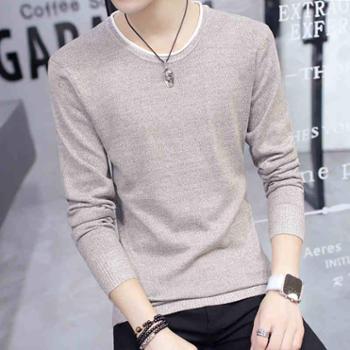 秋季上衣男士长袖T恤圆领针织打底衫韩版男装体恤卫衣毛衣秋衣服