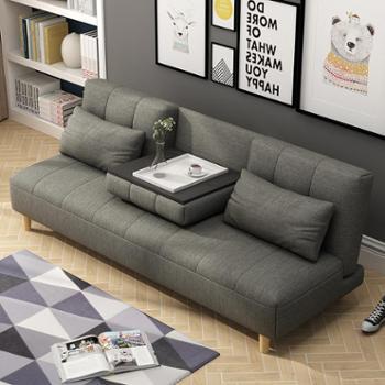 北欧日式可折叠多功能布艺沙发床实木框架简易三人沙发棉麻