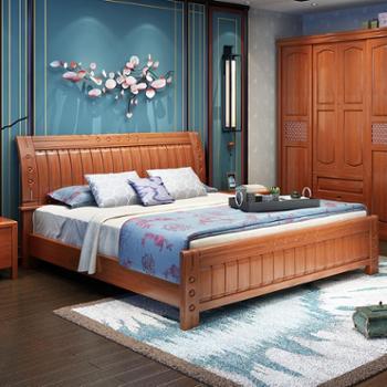 实木床 单人床双人床1.5米1.8米 现代中式橡木床 储物高箱床