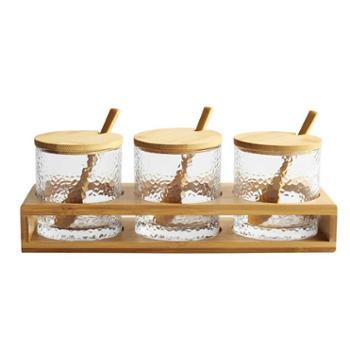 厨房用具佰润居透明玻璃调味套装组合家用创意罐调料盒带盖油盐罐味精罐