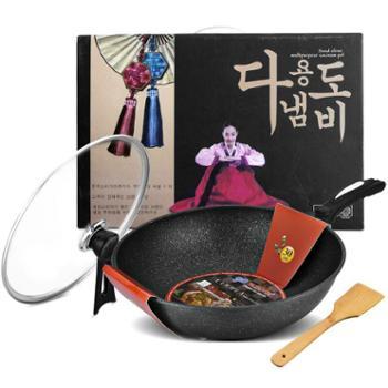 韩国麦饭石不粘锅炒锅32cm加深加大无油烟电磁炉燃气家用炒菜锅具