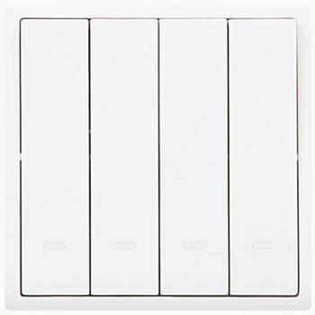 施耐德(Schneider)开关插座开关面板四开双控开关10A带荧光指示开关丰尚系列白色