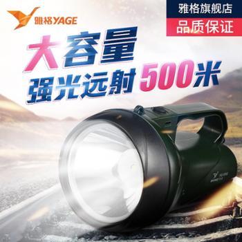 雅格 LED防水手电筒 3W强光充电式手提灯 户外照明远程探照灯