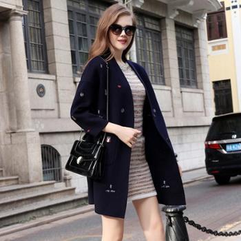 AVYON刺绣毛呢外套女秋冬新款高端双面羊绒大衣女长款呢子大衣