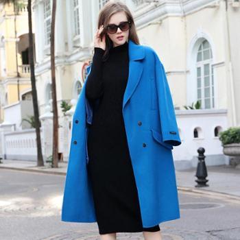 AVYON欧美时尚设计师款纯色双面呢羊毛大衣宽松双面羊绒大衣女装潮