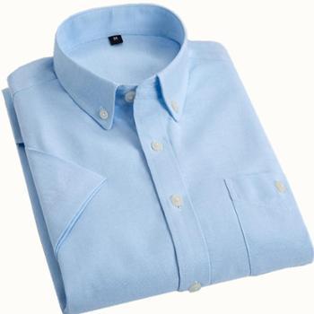 G-RIVER大江大河净面纯色牛津纺男式短袖衬衫合身版直筒棉质衬衣