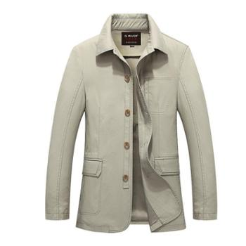 G-RIVER大江大河宽松直筒男式夹克衫外套大码男装商务休闲中年爸爸装