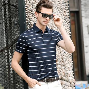 大江大河G-RIVER宽松直筒男式短袖polo衫T恤蚕丝混纺爸爸装条纹