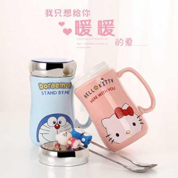 创意陶瓷杯子卡通马克杯咖啡杯茶杯大容量情侣水杯带盖带勺1个装
