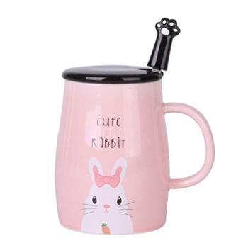 卡诺 陶瓷马克杯子可爱卡通情侣水杯早餐杯牛奶咖啡麦片杯带盖勺