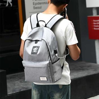 邵龙新款充电双肩包户外帆布背包 大学生书包时尚旅行包定制韩版背包
