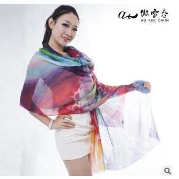 2017傲雪春数码喷绘羊绒加莫代尔时尚围巾