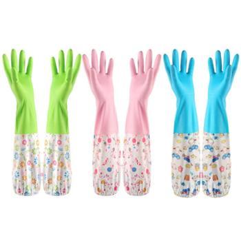 纤诗洁3双装洗碗手套防水橡胶加绒加厚乳胶厨房家务接袖塑胶手套