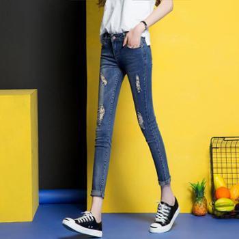 维蒙E族破洞弹力牛仔裤女九分裤小脚显瘦夏装春夏季铅笔裤W720