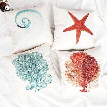 SERANDMIDO北欧海洋生物 家居软装棉麻抱枕沙发抱枕 SMC296T