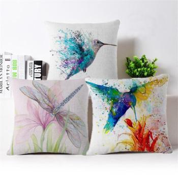 SERANDMIDO 动物沙发垫子靠枕水彩画蜻蜓动物抱枕(含芯) SMZ816