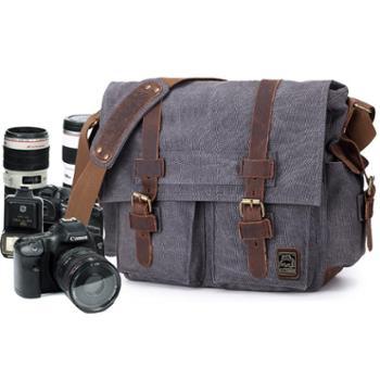 七色棉男式单肩斜挎帆布包单反摄影数码相机包单反相机包2038
