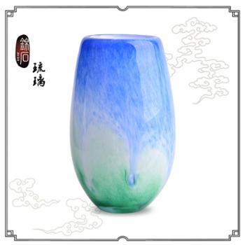 锦石琉璃彩釉手工琉璃笔筒摆件商务办公桌摆件会议纪念品送客户蓝色