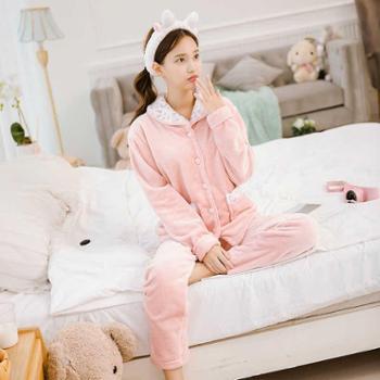 艳蔓长袖保暖法兰绒睡衣女士舒适加厚撞色新款家居服两件套