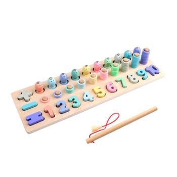 童畅儿童益智钓鱼数字拼图积木玩具三合一早教益智玩具磁性拼图积木