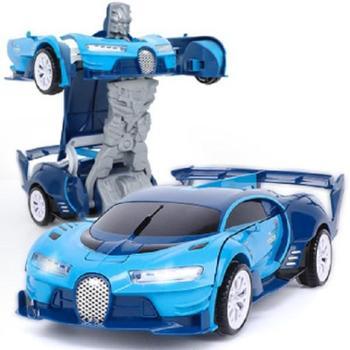 北国e家儿童变形玩具赛车电动机器人电动万向变形车带灯光音乐自动变形汽车机器人变形金刚赛车好玩的玩具