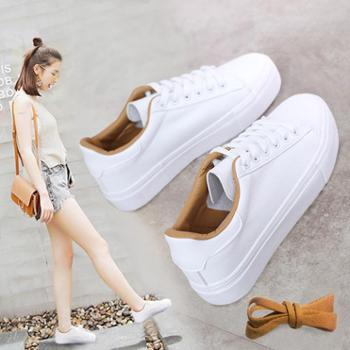 百搭2017春季新款帆布鞋女学生休闲板鞋韩版系带小白鞋厚底运动鞋