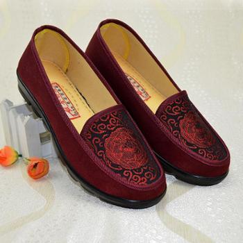中老年人休闲春秋单鞋浅口妈妈鞋老北京布鞋女老人鞋舒适奶奶网鞋