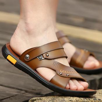夏季时尚男士凉鞋真皮休闲沙滩鞋防滑韩版拖鞋男两用夏天潮男凉拖