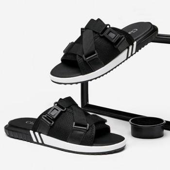 男鞋夏季凉鞋室外拖鞋男休闲凉拖韩版潮防滑个性人字拖男士沙滩鞋