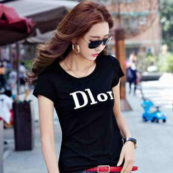 白色纯棉圆领T恤女短袖夏装新款韩版修身显瘦字母印花上衣打底衫
