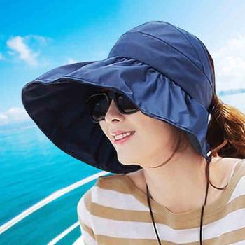 帽子女夏遮阳帽夏天女士潮防紫外线大沿沙滩太阳帽防晒可折叠凉