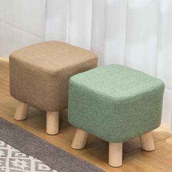 实木换鞋凳沙发凳时尚穿鞋凳布艺小凳子创意小方凳茶几凳简约矮凳