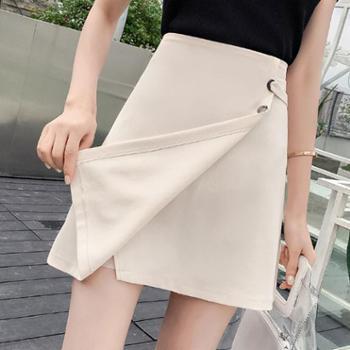 2018新款韩版百搭显瘦大码不规则包臀A字裙子高腰半身裙短裙女夏