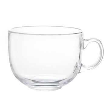 大容量马克杯玻璃杯子牛奶麦片碗早餐燕麦杯大肚茶杯咖啡杯带盖勺