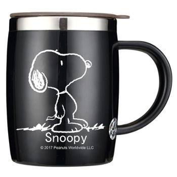 史努比创意办公室水杯不锈钢茶杯喝水马克杯带盖勺咖啡杯家用杯子