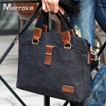 马瑞克男包手提包横款商务单肩包帆布斜挎包文件公文包14寸电脑包